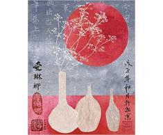 1art1 50590 Hélène Druvert - Asien, Vasen Mit Süßgräsern Poster Kunstdruck 50 x 40 cm
