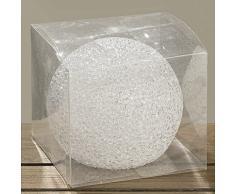 2tlg. kleine beleuchtete Schneekugel ICELAND transparente Kristalle Leuchtkugel