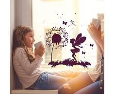 Fensterbild Wandtattoo Pusteblume Fee Schmetterlinge & Punkte Fensteraufkleber Fenstersticker M2093 - ausgewählte Farbe: *pink* ausgewählte Größe: *M - 32cm breit x 32cm hoch*