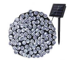 Qedertek Solar Lichterketten Weihnachtsbeleuchtung außen, 20M 200 LED Solarlichterkette Wasserdichte, 8 Modi Solar Weihnachtsbaum Lichterkette Deko für Garten, Terrasse, Party, Hochzeit (Weiß)