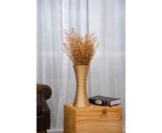 Leewadee Kleine Bodenvase für Dekozweige hohe Standvase Design Holzvase, 41 cm, Mangoholz, Gold