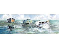 Rahmen-Kunst Keilrahmen-Bild - Carol Robinson: Caught at Low I Leinwandbild Boote Strand Meer maritim (35x105)