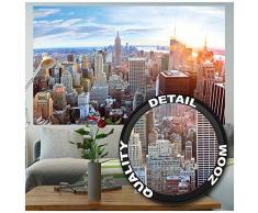 GREAT ART XXL Poster – New York City Skyline – Wandbild Dekoration Penthouse Sonnenuntergang Manhattan Amerika USA Deko Big Apple NYC Wandposter Fotoposter Wanddeko (140 x 100 cm)