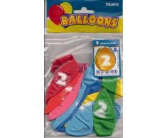 Folat 8 Luftballons Zahl 2 Geburtstag bunt