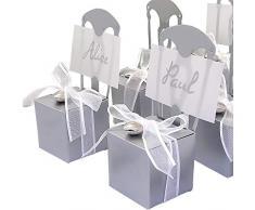 EinsSein 48x Kartonage Stuhl Silber Gastgeschenke Hochzeit Hochzeitsmandeln Verpackung Box Tischdeko Kartonagen Schachteln Taufe Geschenkboxen Süßigkeiten Taufmandeln Tischkarten Bonboniere Wedding