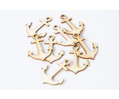 Happy Wedding Art 50St. Anker 4cm Holz Tischverzierung Tischdekoration Streudekoration Hochzeit Taufe Kommunion Firmung Konfirmation Geburstag Mottoparty Girlanden basteln Scrapbooking