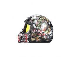 JIA JU Persönlichkeit Helm Vintage Helm handgefertigte Retro Harley Helm Harley Helm Motorrad Elektroauto 3/4 halbe Helm Drachenfigur Männer und Frauen (größe : M)