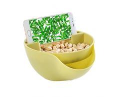 Stabile, doppelschichtige Schale von Kalaokei, für Obst, als Snackschale, mit Handyhalter, für den Snack vor dem Fernseher Einheitsgröße grün