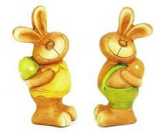 2x Dekofigur Osterhase Hase Mädchen & Junge im Set aus Polystein bunt 15 cm groß, Osterdeko Osterfigur witzige Figur für den Garten für Frühling und Ostern