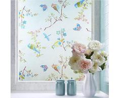 Shackcom Fensterfolie Selbsthaftend Blickdicht Sichtschutz Sichtschutzfolie 60x200CM Statisch Haftend Anti-UV Dekorfolie für Bad Küche Büro Zuhause-G004