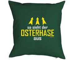 Geschenk zu Ostern Osterdekoration Kissen mit Innenkissen für das Osternest lustiges Motiv OSTERHASE 40 x 40 cm in grün : )