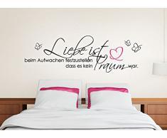Wandtattoo-Günstig G023 Zitat Liebe ist... mit Schmetterling + Herz Wandaufkleber Wandsticker Schlafzimmer schwarz (BxH) 120 x 38 cm