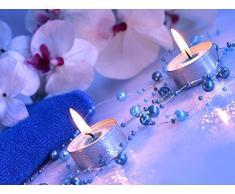 Perlengirlande grau-blau 5 Stück á 1,3m Tischdeko Hochzeit Taufe Weihnachten