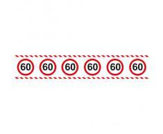 Folat 28460 Party Absperrband Verkehrsschild-15 m-Zahl: 60, rot/weiß
