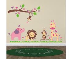 Huge Elephant WS9039 Zooyoo - Kinderzimmer Wandaufkleber Sticker Cartoon Elefant Löwe Zootiere Kunst, PVC, Mixed Colour, 60wx90l