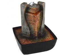 Agora-Tec® Wasserspiel & Zimmerbrunnen AFIYA mit LED Beleuchtung im Wassersprudel, sehr angenehmer leiser Wasserlauf 21 cm hoch