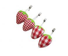 Tischdeckenbeschwerer 4tlg Stoff Erdbeeren rot/weiß 6x6x4cm