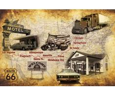1art1 70318 Route 66 - American Way Of Life Tour, Karte Im Retro Style Poster Leinwandbild Auf Keilrahmen 120 x 80 cm