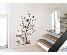 Grandora® W5066 Wandtattoo Stammbaum Familie Spruch Wandaufkleber Wandsticker braun(BxH) 65 x 106 cm