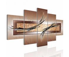 Bilder Abstrakt Wandbild 200 x 100 cm Vlies - Leinwand Bild XXL Format Wandbilder Wohnzimmer Wohnung Deko Kunstdrucke Braun 5 Teilig - MADE IN GERMANY - Fertig zum Aufhängen 104951c