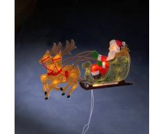 Konstsmide 2853-000 FensterbildRentier mit Weihnachtsmann und Schlitten / für Innen (IP20) / 230V Innen / 20 klare Birnen/weißes Kabel