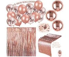 Erosion 122 Stück Rose Gold Party Dekorationen & Bridal Shower Dekorationen | 18 in Roségold Ballons (Konfetti und Festen Latex) | Tischläufer & 100 PS Tisch Konfetti & Vorhang