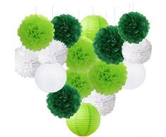St. Patrick Day Party-Dekoration -Shamrock Lucky Party Grünbuch Laterne Runde Muster Papier Girlanden Quasten, Papierblumen Pom Poms Bälle für Geburtstag, Braut, Babyparty, Hochzeit, Abschlussfeier