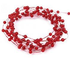 1 m Perlen Perlenband Perlenkette Perlengirlande Perlenschnur Hochzeit Deko Perlen Tischdeko (Rot)