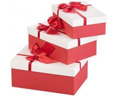 Your Design Geschenkboxen: 3er-Set edle Geschenk-Boxen mit roter Schleife, 3 Verschiedene Größen (Geschenkschachtel)