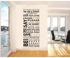 Englisch Sprüche Wandaufkleber Wall Stick Dekorative Wandstick Wandbilder Schlafzimmer Kinderzimmer Wohnzimmer Küche in verschiedenen Muster (House Rule)
