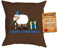 Kissen mit Füllung - Weihnachtsmotiv: Happy Christmas, Schaf - Set mit Urkunde - By Gali - Farbe: braun - Geschenk - Weihnachten