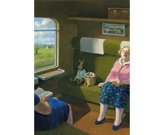 Postkarte A6 • 15096 Osterhase im Zug von Inkognito • Künstler: Michael Sowa • Ostern
