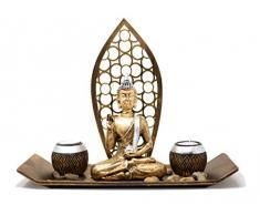 Deko-Set Buddha mit 2 Teelichthalter Schale Buddhafigur zur Meditation Entspannung oder Geschenkidee