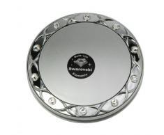 Fantasia Taschenspiegel Swarovski Elements - Silber, zweiseitig, normal und 10-fache Vergrößerung, Ø 8,5 cm, runder Klappspiegel