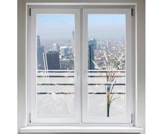 INDIGOS UG Sichtschutzfolie Fensterbild Fensterfolie Glasdekor Rohrkolben Bambus satiniert blickdicht ORACAL® - 1200mm Breite x 500mm Höhe - auch mit Individueller Breite