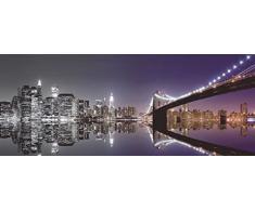 Artland Echt-Glas-Wandbild Deco Glass Mike Liu New York Skyline und nächtliche Reflektion - schwarz/weiss und farbig Städte Amerika NewYork Fotografie Schwarz/Weiß 50 x 125 x 1,1 cm