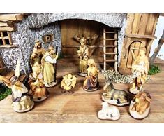 XXXL Große Weihnachtskrippe mit Zubehör, BTV 100 cm 1 m Breite Ausführung: massiv Vollholz Massivholz mit Krippenfiguren HANDBEMALT UND GEBEIZT in Echtholz-Optik, mit Figuren, Stall Krippe Krippenstall Beleuchtung K100MFHO Krippen