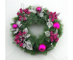 Adventskranz mit Weihnachtsschmuck 28cm Weihnachtskranz Türkranz Rosa