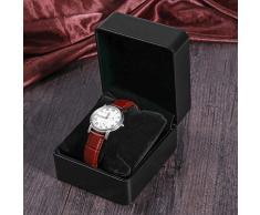 NICERIO Uhrenbox,Premium PU Single Grid Armband Box Geschenkbox Schmuckschatulle mit Kissen, ideal für Weihnachten Neujahr Geburtstagsgeschenk (Schwarz)