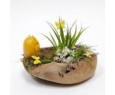 Teak Frühlingskranz rund Ø 40 cm mit Kerzenpick Wurzelschale Holzschale Teakschale Dekoschale Osterdeko
