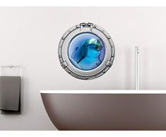 Graz Design 651031_40 Wandsticker Wandtattoo Wandaufkleber Badezimmer Bullauge Delfin Unterwasser (Größe=40x40cm)