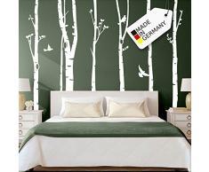 Grandora Wandtattoo XXL Birkenstämme Vögel I schwarz (BxH) 267 x 250 cm I Bäume Schlafzimmer Wohnzimmer Sticker Aufkleber Wandaufkleber Wandsticker W5187
