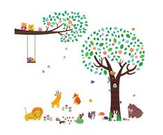 Decowall DML 1312P1410 Großer Baum Eulen Zweig Waldtiere Tiere Wandtattoo  Wandsticker Wandaufkleber Wanddeko Für Wohnzimmer