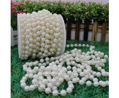 10m Perlenkette Perlengirlande 8mm Hochzeit Feste Deko Elfenbein