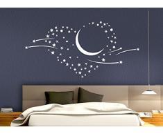 Grandora 1011W Wandtattoo Herz Mond Sternschnuppen Wandaufkleber weiß 100 x 48 cm