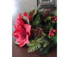 Künstlicher Kranz mit Zapfen, roter Amaryllis & roten Beeren, Ø 35 cm - Türkranz / Tischkranz - artplants