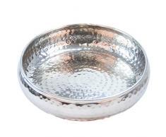 Orientalisches rundes Tablett Schale aus Metall 32cm groß Silber | Orient Dekoschale mit hohem Rand | Marokkanisches Serviertablett Rund | Orientalische Silberne Deko auf dem gedeckten Tisch