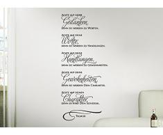 Grandora W976 Wandtattoo Zitat Achte auf deine Gedanken... Talmud weiß (BxH) 25 x 58 cm