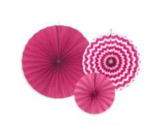Deko Rosetten 3Stück pink weiß PomPoms hängende Party Deko Girlande Mottoparty