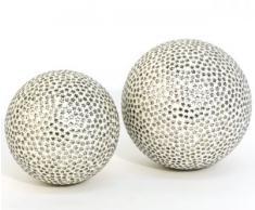 Dekokugel Bahula Glas/Silber Stern-Muster 10cm